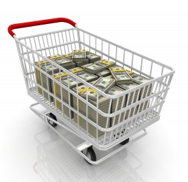 shopping cart with money in it